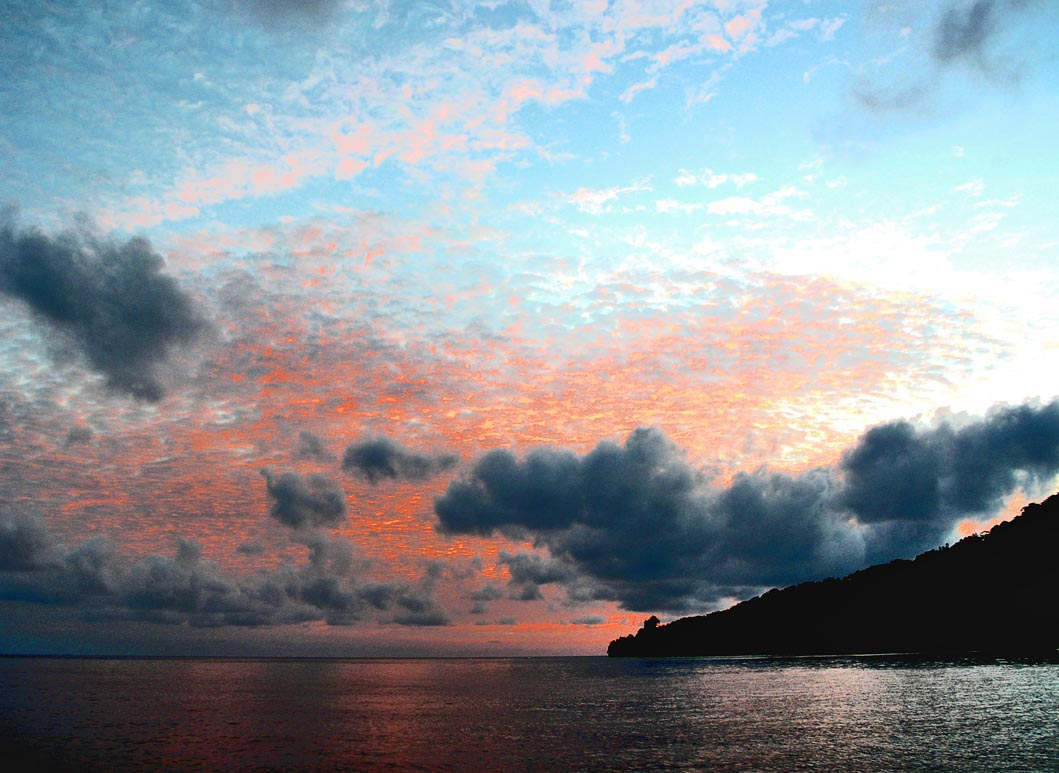 Manam Island at sunset